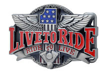 LIVE TO RIDE Belt Buckle Biker Motorcycle Engine