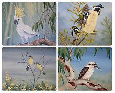 4 x COASTERS - AUSTRALIAN BIRDS & FLORA/COCKATOO/KOOKABURRA/BLUE WREN-WATERPROOF