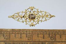 Vintage DANECRAFT STERLING GOLD WASH ETRUSCAN FILIGREE PIN w/SMOKY QUARTZ