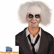 HALLOWEEN HORROR BEETLE JUICE CRAZY GUY WIG Adults Mens Fancy Dress Costume