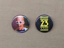 "Max Headroom NETWORK 23 Logo & Max in White Suit Buttons 1.25"" Cyberpunk TV"
