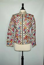 NWOT NATTO  Genuine Leather Zipper Women's multy color Blazer Jacket  Size M