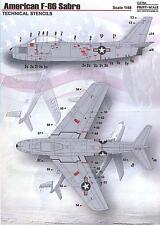 Print Scale Decals 1/48 NORTH AMERICAN F-86 SABRE JET TECHNICAL STENCILS