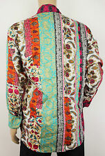 Trapunta Vintage 70s Stile Hippie Paisley/floreale Camicia Prince Uomini/Donne Festival Patchwork