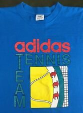 True Vintage 80s 90s NOS ATP ADIDAS Tennis Team Graphic Blue Half-Shirt T-Shirt