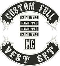 "13"" Custom Embroidered Flame Full Vest Set Patches MC Biker"