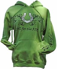 Horseshoe Horse Hoodie,LIVE for the RIDE, S,cotton, womens, green,sweatshirt,
