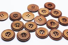 Natural Wooden Button Large Brown Four Holes Sew On Wood Coat Buttons 30mm 20pcs