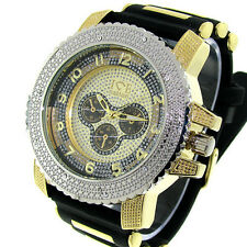 MENS ICED OUT SILVER/GOLD ICE NATION HIP HOP WATCH WITH SILICONE BAND
