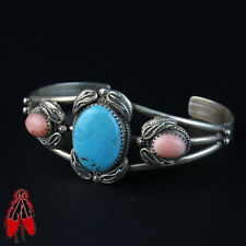 turquoise pink agate sterling silver bracelet Vintage Navajo old pawn jewelry
