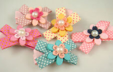 "Wholesale 3pcs girl baby toddler 2""boutique Hair Bow mixed ribbon with clips e8m"