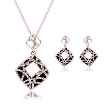 Fashion Wedding Jewelry Set Gold Plated Swarovski Crystal Earrings Necklace Set