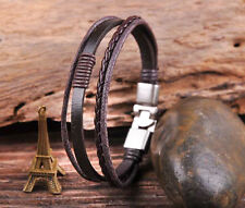 S532 Brown Cool Leather & Hemp Hand Braid Bracelet Wristband Men's Cuff Silver