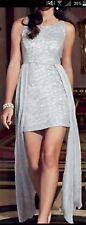 Lipsy Silver Sequin Split Skirt Dip Hem High Low Skirt
