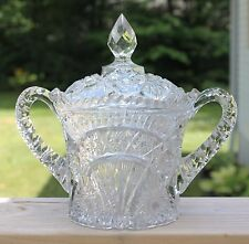 Vintage Pressed Cut Glass Wine Chiller Ice Bucket, Lid Scalloped Rim Star Daisy