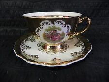 Vintage ST Fragonard 24K Gold Tea Cup & Saucer Set Bavaria Germany Love Scene