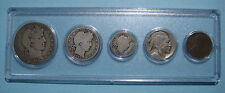 1913 US Coin Year Set 5 Coins 90% Silver w/ 1913-D Type I Nickel