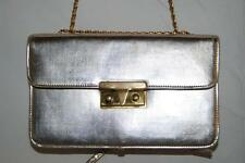USA Made Vintage MEYERS Light Gold Leather Accordian Style Evening Bag Purse