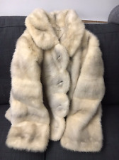 RARE REAL SILVER CROSS MINK FUR VTG JACKET COAT SCALLOP NO FOX SABLE SZ S/M