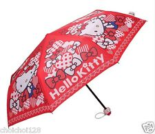 New Hello Kitty Figure Handle Red Bowknot Parasol Umbrella Rare KK41