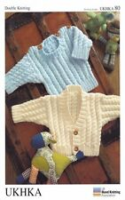 Baby Double Knitting Pattern Long Sleeve Cardigan Sweater Ribbed Detail UKHKA 80