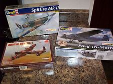 2 - REVELL AIRCRAFT MODEL KITS (FORD TRI MOTOR / SPITFIRE MK11 ) + PLUS
