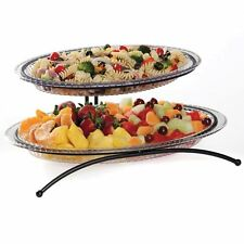 2 Tier Buffet Server With 2 Platters Party Plates Food Dessert Serving Trays