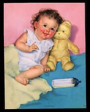 "VINTAGE 1950""S ""PINK AND BLUE"" BABY TEDDY CALENDAR ART PRINT BY CHARLOTTE BECKER"