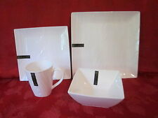 ROSCHER FINE PORCELAIN WOOD GRAIN RARE DESIGN WHITE SQUARE 16 PC DINNERWARE NEW