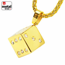 """14k Gold Plated Stainless Steel Plated 3D Dice Pendant 24"""" Box Chain SCP 173 G"""
