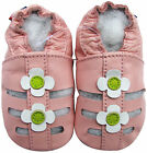 carozoo sandals pink white flower 12-18m soft sole leather baby shoes