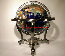 "Unique Art 13"" Tall Blue Ocean Table Top Gemstone World Globe Tripod Leg Silver"