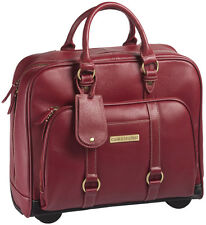 """Clark & Mayfield Hawthorne 17.3"""" Leather Rolling Laptop Bag Briefcase - Red"""