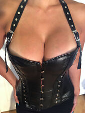 Sexy Overbust Halter Corset  Black Wet Leather look  w/ Buckle detail size M