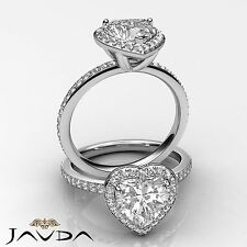 2 ct Halo Pave Heart Diamond Engagement Brilliant Ring 14K White Gold F SI1 GIA
