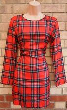 RED GREEN YELLOW CHECK TARTAN LONG SLEEVE SILKY FEEL BODYCON TUBE DRESS M 12