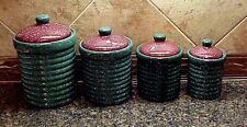 Vintage Canister Set Green Burgundy Speckles Ceramic 4 Piece Lids Kitchen