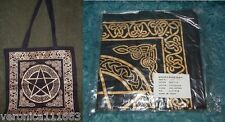Tote Bag Pentacle Celtic Knot NEW Gold & Black Reuseable Washable Cotton 18""