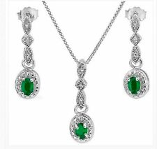 EMERALD DIAMOND  NECKLACE & EARRING SET .55 CWT NATURAL EMERALDS  CHRISTMAS