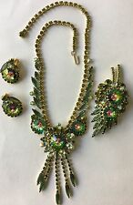 Verified D&E Juliana Watermelon Margarita Rhinestone Set: Necklace Pin Earrings