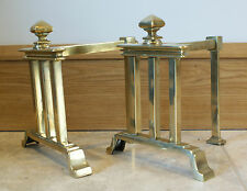 Antique Brass Fire Dogs Pair Andirons Fireplace Companion Support Holder Gold