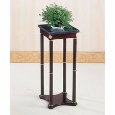 Cherry Finish Wood Square Style Plant Stand with Green Marble Table Top