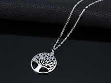 925 Sterling Silver Hollow out Wishing Tree Pendant The Tree of Life Necklace