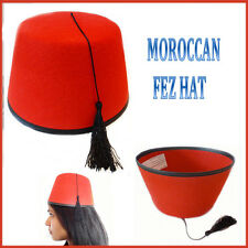 Moroccan Red Fez Hat Turkish Fancy Dress Party Head Wear Black Tassel Adult Cap