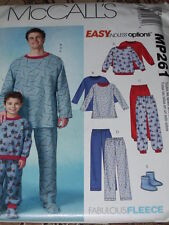 McCALL'S #MP261 - FATHER & SON WINTER PAJAMAS & SOCKS PATTERN  3-8 /  SM-XXL  FF