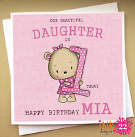 Personalised Birthday Card, Teddy Bear, Daughter,Granddaughter 1st,2nd,3rd,4th
