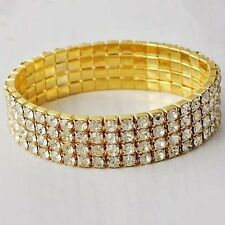 Womens Yellow Gold Filled Iced Out Clear Rhinestone Stretch Tennis Bracelet