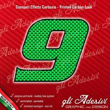 Adesivo Stickers NUMERO 9 moto auto cross gara Carbon Effect Green 5 cm