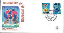 Dutch Antilles / Aruba - 1995 50 years UN - Mi. 154-55 clean unaddressed FDC