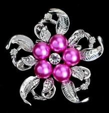 Women Vintage Rhinestone Crystal Flower Pearl Wedding Bridal Bouquet Brooch Pin